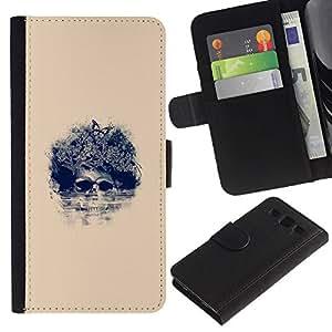 NEECELL GIFT forCITY // Billetera de cuero Caso Cubierta de protección Carcasa / Leather Wallet Case for Samsung Galaxy S3 III I9300 // Afro Cráneo floral - Pop Art