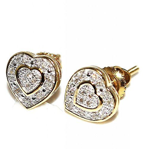 Diamond Heart Earrings 10K Gold 7mm Wide Screw Back 0.07cttww(I/j Color 0.07cttw) by Midwest Jewellery