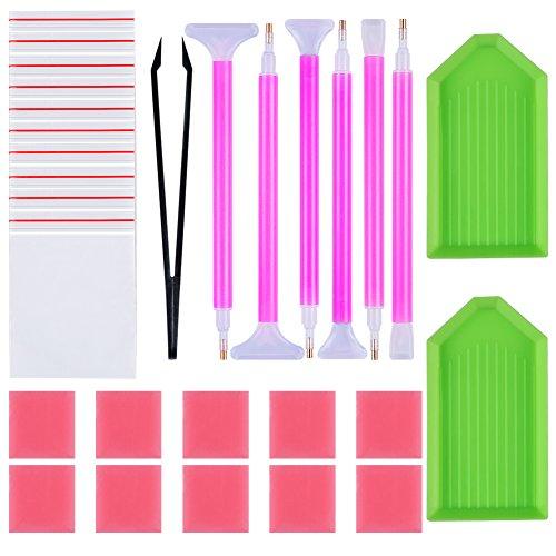 URlighting Diamond Painting Tools Kit(29 Pcs) DIY 5D Diamond Painting Accessories Cross Stitch Tool Set Including Diamond Stitch Pen, Tweezers, Glue, Plastic Tray, for Adults DIY Art Craft ()