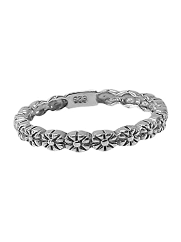 Sterling Silver Daisy Stacking 2mm Band Ring in Sizes G-Z daGsR3YAp