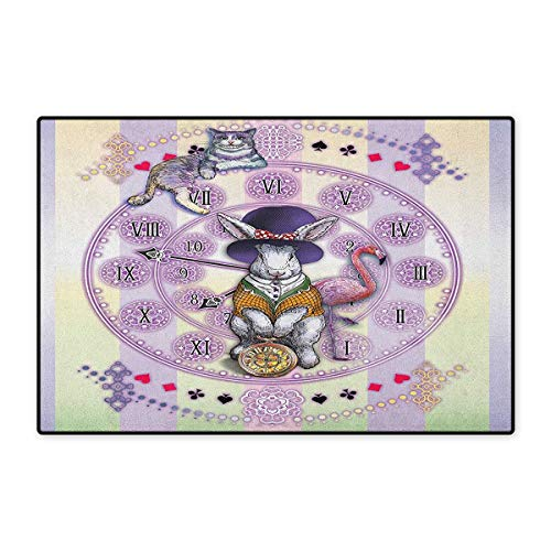 Novella Trap Cover - Animal,Door Mat Outside,Alice in Wonderland Rabbit and Cat Fiction Story Novel Child Display Story,Customize Door Mats for Home Mat,Lilac Pale Yellow,Size,16