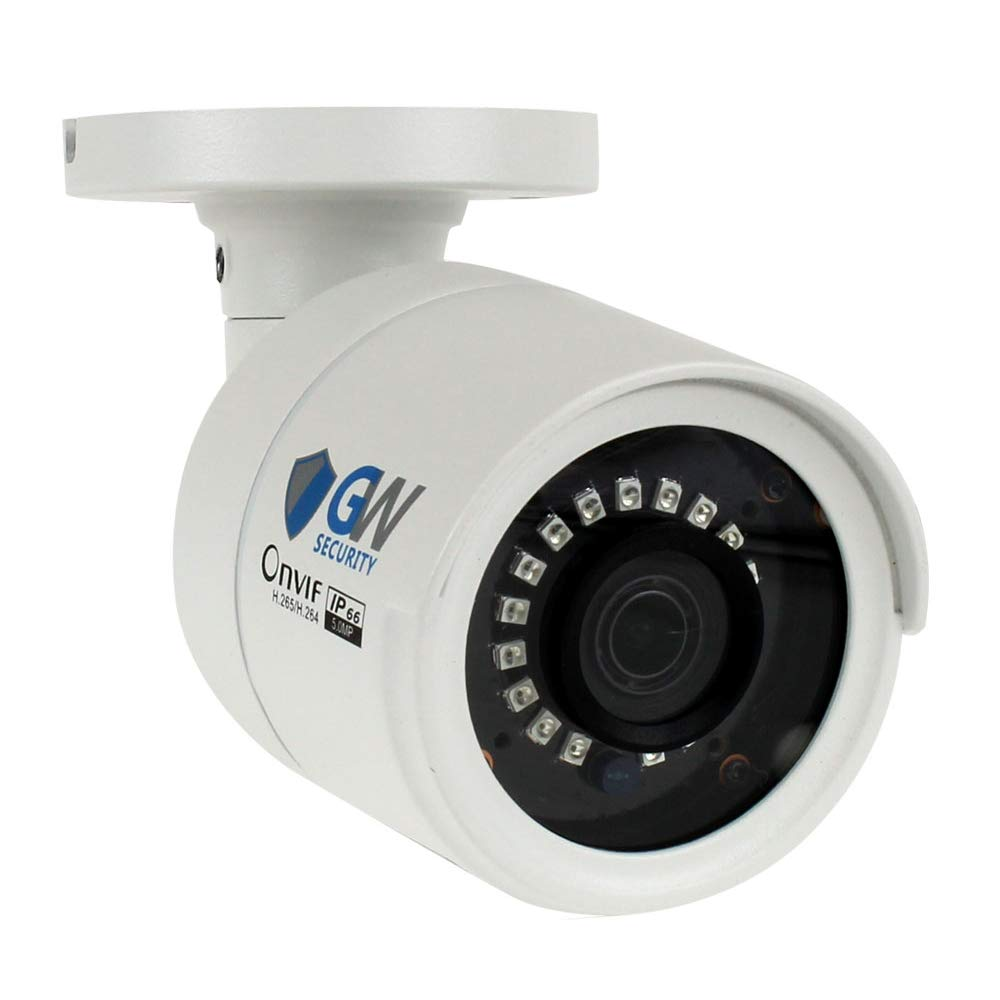 GW Security 5 Megapixel 2592 x 1920 Pixel Super HD 1920P Outdoor Network PoE 1080P Bullet Security IP Camera with 3.6mm Wide Angle Len