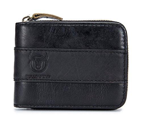 BULLCAPTAIN Genuine Leather Mens Wallet Bifold Vintage Men Wallets Credit Cards Holder (Black)