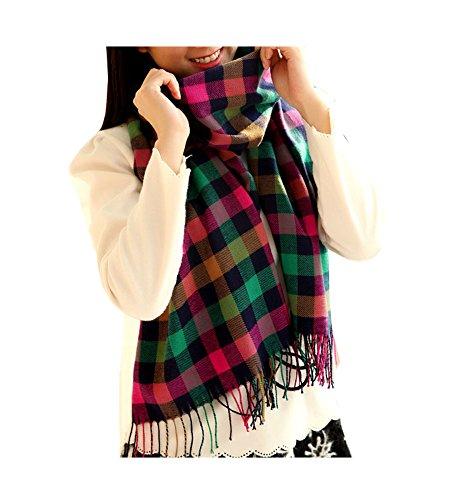ARJOSA Women Knitted Plaid Oversized Long Scarf Shawl Wrap – #7 PLAID -Pink Green