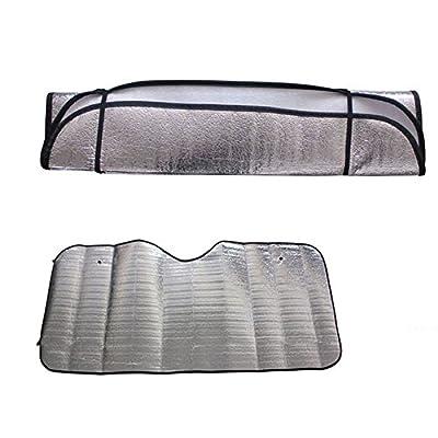 Corsion 2Pc Car Windshield Visor Cover Casual Foldable Front Rear Block Window Sun Shade