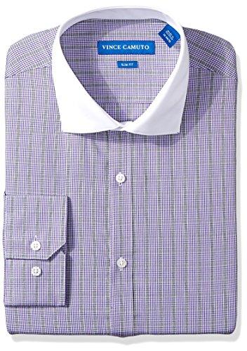 - VINCE CAMUTO Men's Slim Fit Pow Check Dress Shirt, Purple, 17