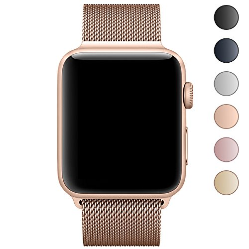 Walcase for Apple Watch Band 38mm, Magnetic Closure Clasp Milanese Loop Stainless Steel Metal iWatch Band for Apple Watch Series 3 - Gold