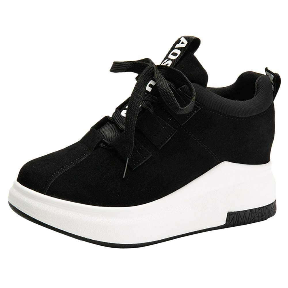Rmeioel Women Casual Outdoor Flat Round Toe Walking Sports Shoes Thick-Soled Platform Breathable Ventilation Sneakers Black by Rmeioel
