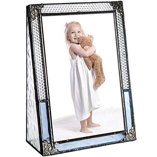 J Devlin Pic 381-46V Blue Stained Glass Picture Frame Photo Frame Vintage Home Decor (4x6 ()