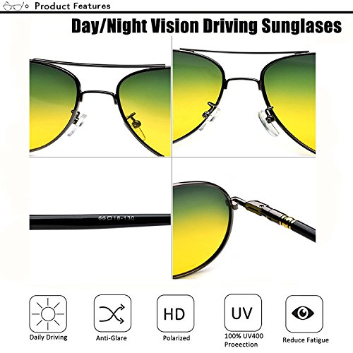 Glasses around Sunglasses Lens Anti Day All Polarized Driving glare Vision Night Gold Frame Eyewear pqwUt