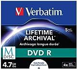 Verbatim 43821 M-Disc 4x DVD-R - 5 Pack Jewel Cas