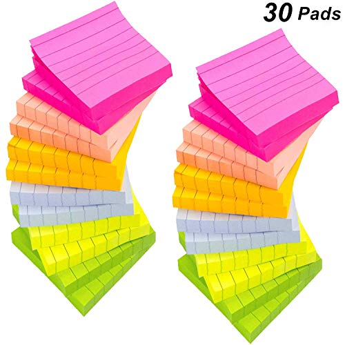 30 Pads/Packs Lined Sticky Notes, 6 Bright Color Self-Stick Notes Pads with Lines, 3 x 3 inch, 80 Sheets/Pad, Neon Paper & Assorted Colors, Easy Post Notes for Study, Works, Office