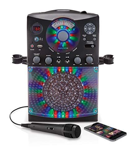 51JQWooCEuL - Singing Machine SML385UBK Bluetooth Karaoke System with LED Disco Lights, CD+G, USB, and Microphone, Black
