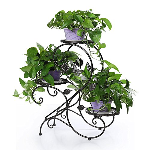 Funmall 3-Tiered Plant and Flower Stand Plant Flower Pot Rack with Modern S Design (Black)