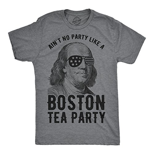 Mens Aint No Party Like A Boston Tea Party Tshirt Funny 4th of July Tee for Guys (Dark Heather Grey) - 5XL