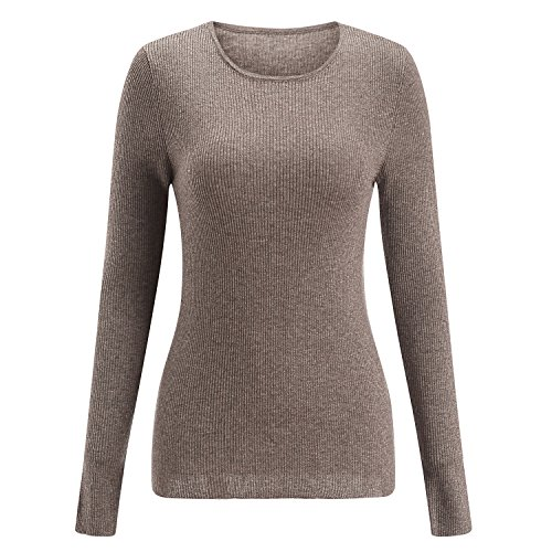 SSeary Women Crewneck Basic Lightweight Cozy Cashmere Knit Pullover Sweater(Brown grey,M)