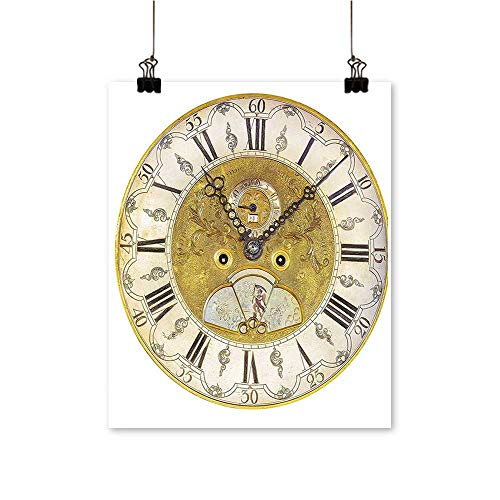 Rich in colorVintage Theme A Seventeenth Century Ornamental Clock Face with Roman Numeral Gold Black Print Decor for Living Room,20
