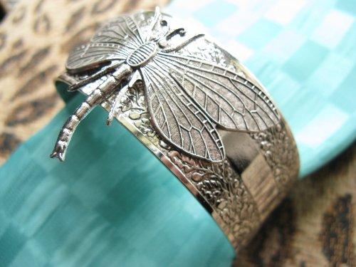Dragonfly Cuff Bracelet - Dragonfly bracelet dragonflies jewelry cuff bangle vintage bracelet
