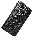 PIJUSHI Wristlet Wallet Women Crocodile Leather Wallet Ladies Clutch Purse (1058 Black Croco)