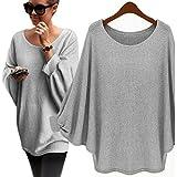 Sweater ,BeautyVan Fashion Beautiful Women Oversized Batwing Knitted Loose Sweater (L, Gary)