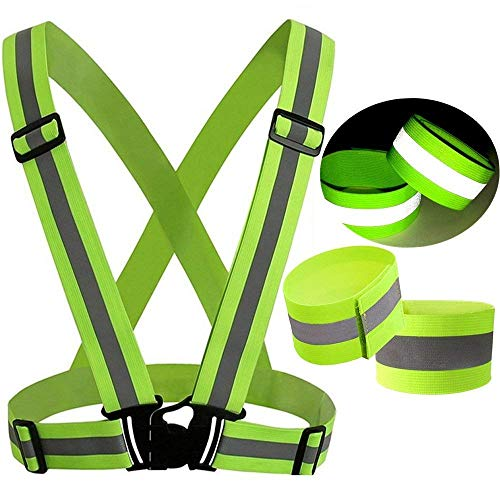 Reflective Vest Safety Gear- Ankle Strap- High Visibility of up to 700 Feet All Day and Night - Elastic, Lightweight, Adjustable - for Highway Emergencies, Running at Night, Cycling
