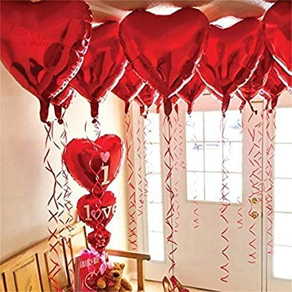 12 1 Red Heart Shape Balloons