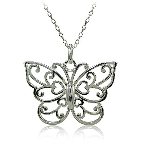 (Hoops & Loops Black Flashed Sterling Silver High Polished Filigree Butterfly Necklace)