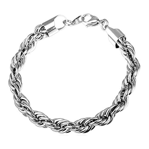 U7 9MM Wide Twisted Rope Chain Bracelet, Men Stainless Steel Rock Cool Jewelry