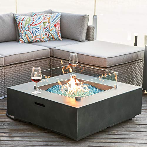 COSIEST Outdoor Propane Fire Pit Coffee Table w Greyish-Green Square Faux Stone 35-inch Planter  ...