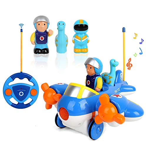 BeebeeRun RC Cartoon Remote Control Race Cars,2-Channel Radio Airplane Vehicle Toys with Music,Lights,Sound and Removable Pilot for Boys Girls Toddlers Kids (Blue)