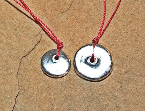 (LARGER Pure Solid Silver Shibui Molten Droplet Charm Cord Necklace, Wabi Sabi Chic Minimalist Sterling Clasp)