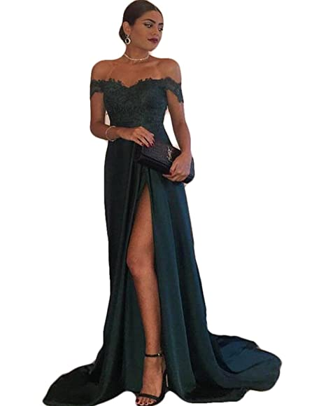 The Peachess Evening Gowns A-Line Hunter Green Chiffon High Split Lace Top Sexy Off Shoulder Formal Party Dress Prom Dresses: Amazon.co.uk: Clothing
