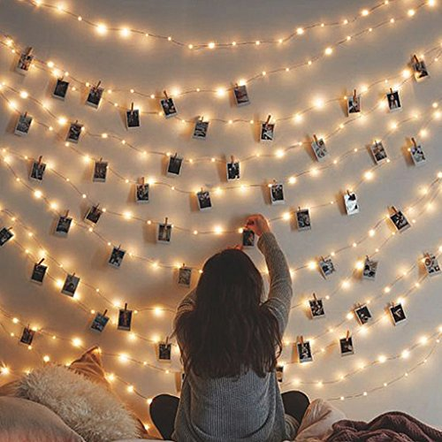Decor Photo - Besteamer Photo Clips Lights, Fairy 30 LED lights battery operated Dorm Lighting Hanging Artwork Photos Memos Paintings bedroom, dorm, home décor (Warm White, picture photo string lights)