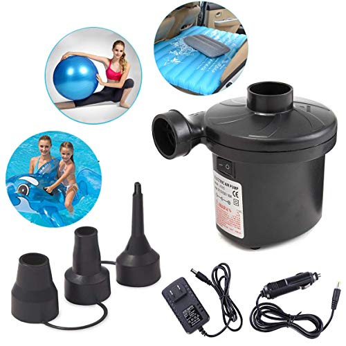 (Ledoo Air Pump Air Mattress Pump for Inflatable Blow up Pool Raft Bed Boat Toy Exercise Ball,Quick-Fill AC Inflator Deflator with 3 Nozzles,220V AC/12V DC)