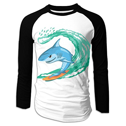Men's Shark Surfer Casual Novelty Crew Neck Long Sleeve Raglan Baseball Tee Shirt Gift