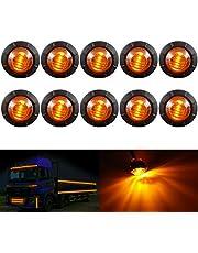 "KaTur 3/4"" Round LED Front Rear Side Marker Indicators Light Waterproof Bullet Marker Light 12V for Car Truck (White)"