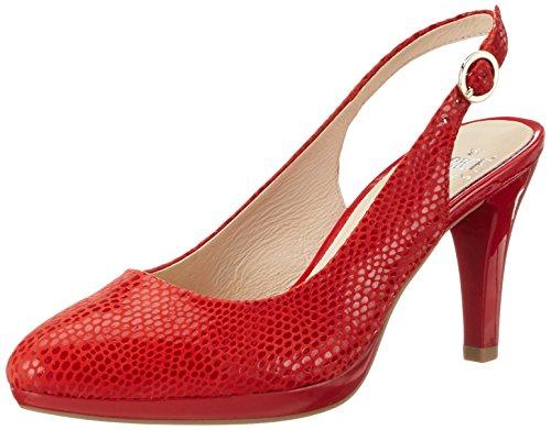 Caprice 29607, Sandalias con Cuña para Mujer Rojo (Red Reptile)