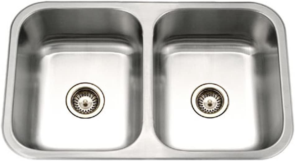 Houzer MGD-3120-1 Medallion Gourmet Series Undermount Stainless Steel 50 50 Double Bowl Kitchen Sink