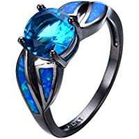 phitak shop Women Fashion Jewelry Aquamarine & Blue Fire Opal 925 Silver Wedding Ring New (7)