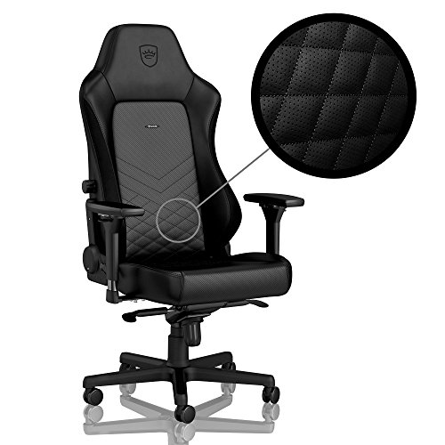 noblechairs Hero Gaming Chair – Office Chair – PU Faux Leather – Lumbar Support – 4D Armrests – Reclinable to 135° – 330 lbs – 2 Pillows – Black