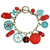 Fabulous! Imitation Turquoise, Coral and Enameled Charms Boho Charm Bracelet , in Turquoise with Antique Brass Finish