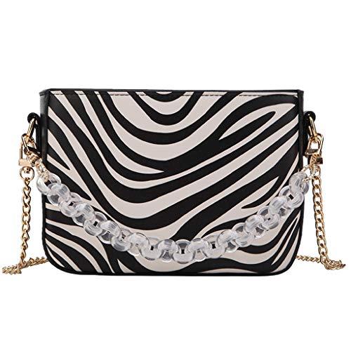(Women Fashion Snakeskin Zebra Print Chain Cross-body Bag Shoulder Bag Clutch Evening Bag Totes Top-handle Handbag SIN+MON (Black))