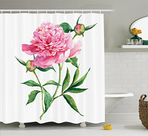 Watercolor Flower Shower Curtain by Ambesonne, Vintage Peony Painting Botanical Spring Garden Flower Nature Theme, Fabric Bathroom Decor Set with Hooks, 70 Inches, Pink White Green (Peony Garden Water)