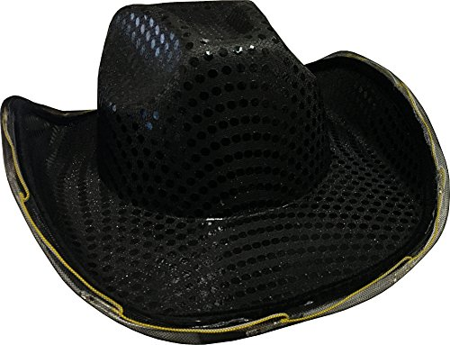 - Adults Light Up Sequin Black Urban Cowboy Hat Costume Accessory