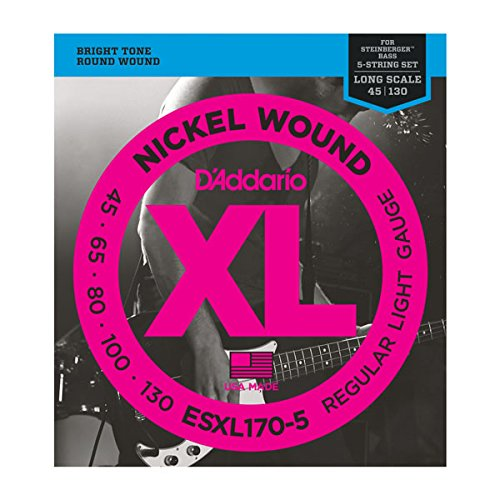 D'Addario ESXL170-5 5 Nickel Wound 5-String Bass Guitar Strings with Long Scale and Double Ball End, Light, (Round Wound Double Bass Strings)