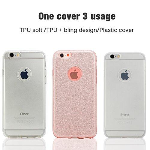 LIVHÒ | Funda iPhone 6 / 6s –Transparente �?Carcasa Fina Slim Soft Thin, TPU Cover + Protector de pantalla en vidrio templado + Paño de limpieza BrilloRosa