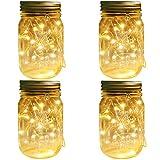 mason jar lantern Mason Jar Solar Lights Lanterns, 4 Pack 30 LEDs Fairy Firefly Led String Lights with Glass Mason Jar,Best for Wedding Garden Patio Outdoor Solar Powered Hanging Lanterns(Jars & Hangers Included)