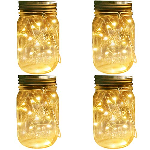 Firefly Lantern - Mason Jar Solar Lights Lanterns, 4 Pack 30 LEDs Fairy Firefly Led String Lights with Glass Mason Jar,Best for Wedding Garden Patio Outdoor Solar Powered Hanging Lanterns(Jars & Hangers Included)