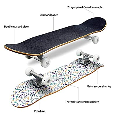 EFTOWEL Skateboards Decorative Impressionism Lines Vector Pattern Colorful Seamless Classic Concave Skateboard Cool Stuff Teen Gifts Longboard Extreme Sports for Beginners and Professionals : Sports & Outdoors