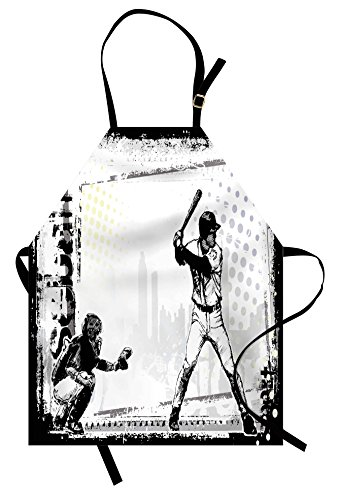 Lunarable Sports Apron, Baseball Themed American Sport Team Rustic Design Silhouette Illustration Print, Unisex Kitchen Bib Apron with Adjustable Neck for Cooking Baking Gardening, Black White -